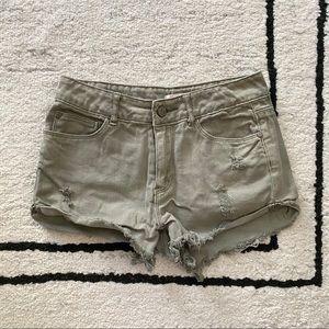 ARDENE Green High Waisted Denim Shorts